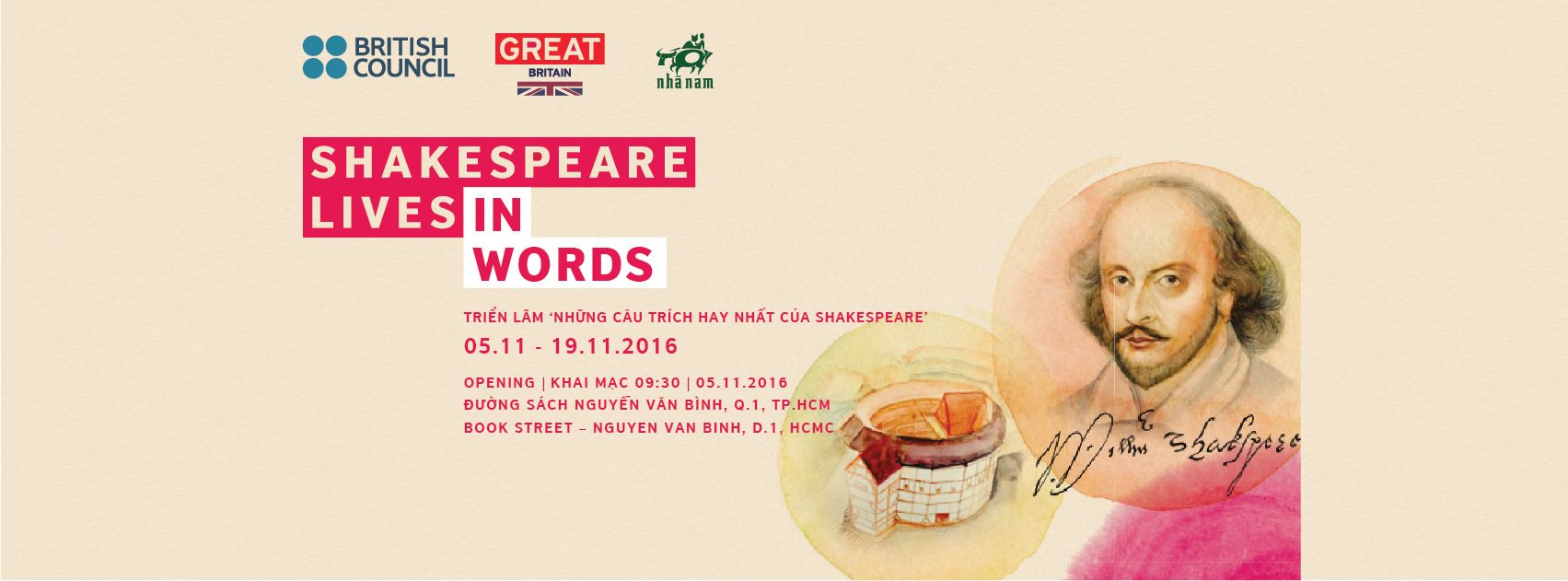 "SHAKESPEARE LIVES IN WORDS: Triển lãm ""Những câu trích hay của Shakespeare"""
